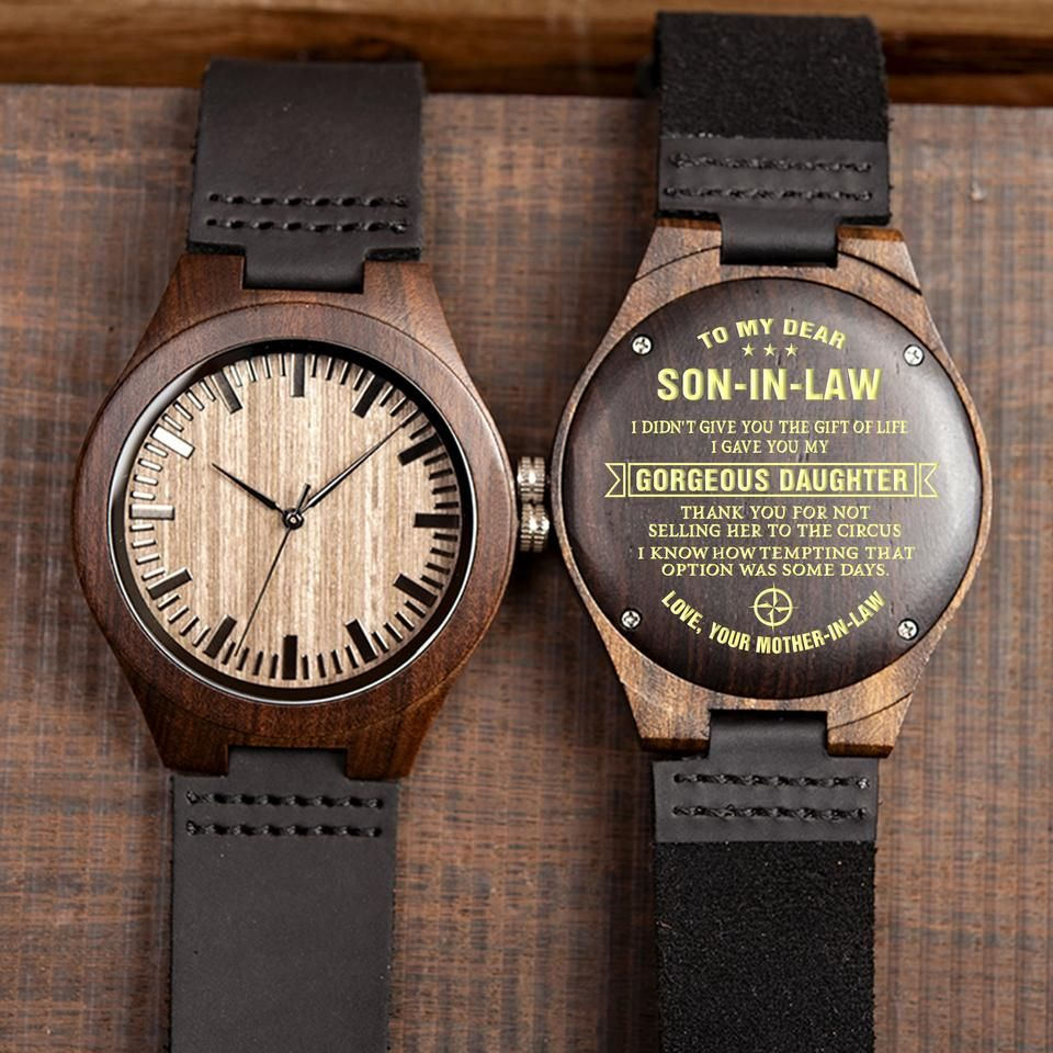 Engraved wooden watch great gift for your soninlaw in