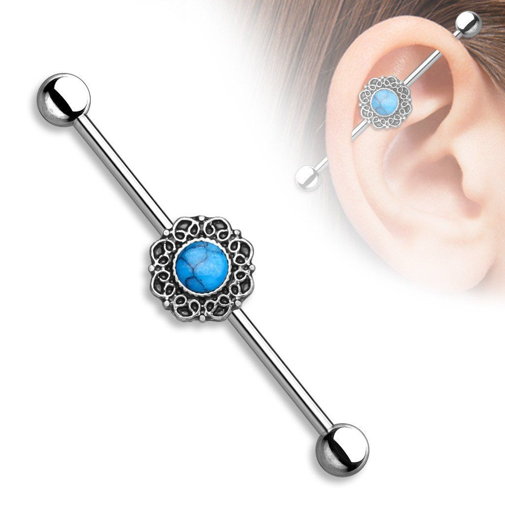 Imitation Opal Glitter Center Heart Filigree Industrial Barbell