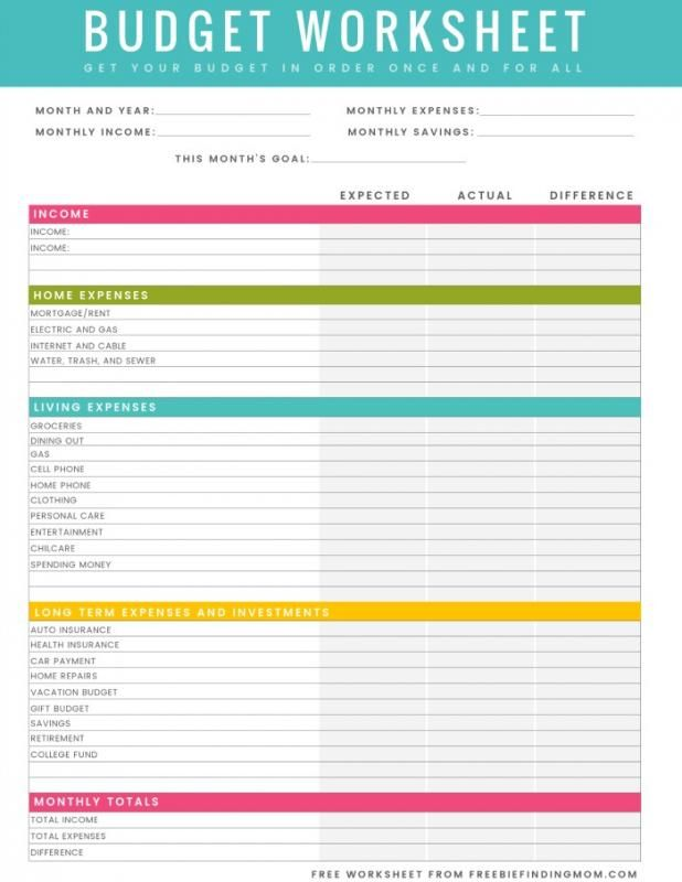 Budget Worksheet Pdf template Pinterest Worksheets and Budgeting