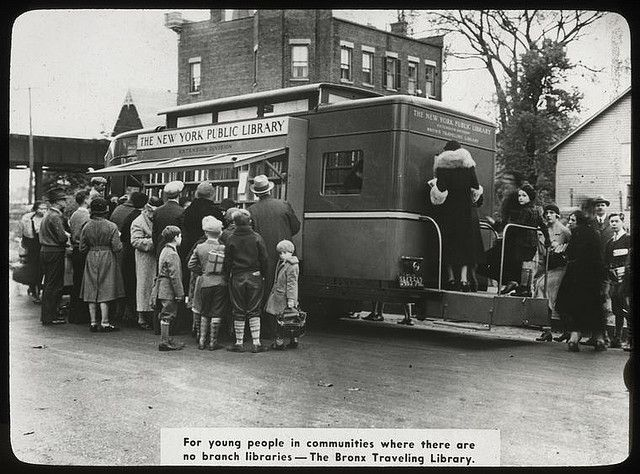 Work with schools, Bronx Traveling Library : people using bo...    Digital ID: 434283. Work with schools, Bronx Traveling Library : people using bookmobile, 1938.. 1938    Source: New York Public Library Visual Materials / Lantern Slides / Branch Libraries / Extension Division / Public schools and Work with schools (more info)