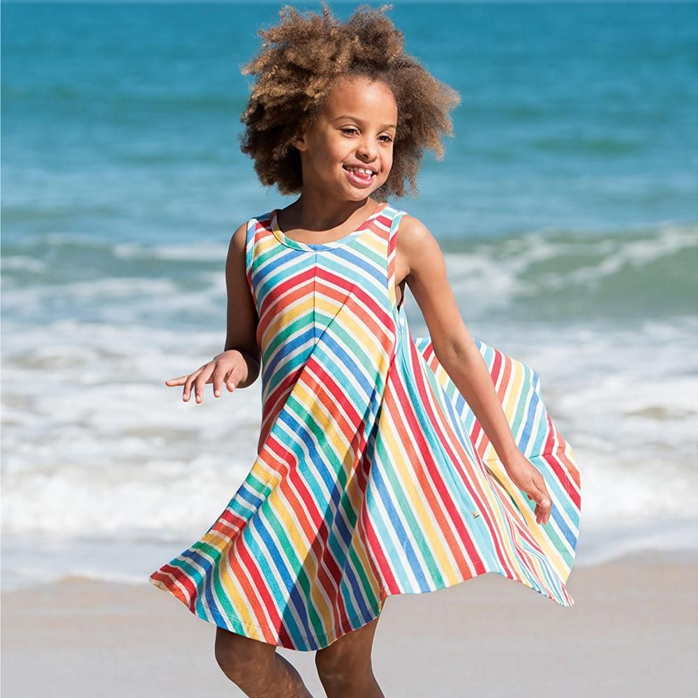 5670f8dfa7 ... Baby goes Retro. This Frugi Rainbow Twirly Beach Dress is ideal for  sunny and warm days by the sea