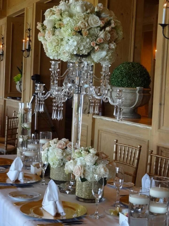 Hydrangea candelabra wedding centerpieces crystal