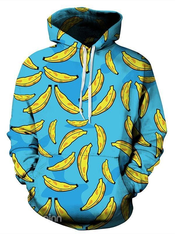 23afa1279d9e Lovely Long Sleeve Banana Pattern Blue Background 3D Painted Hoodie ...