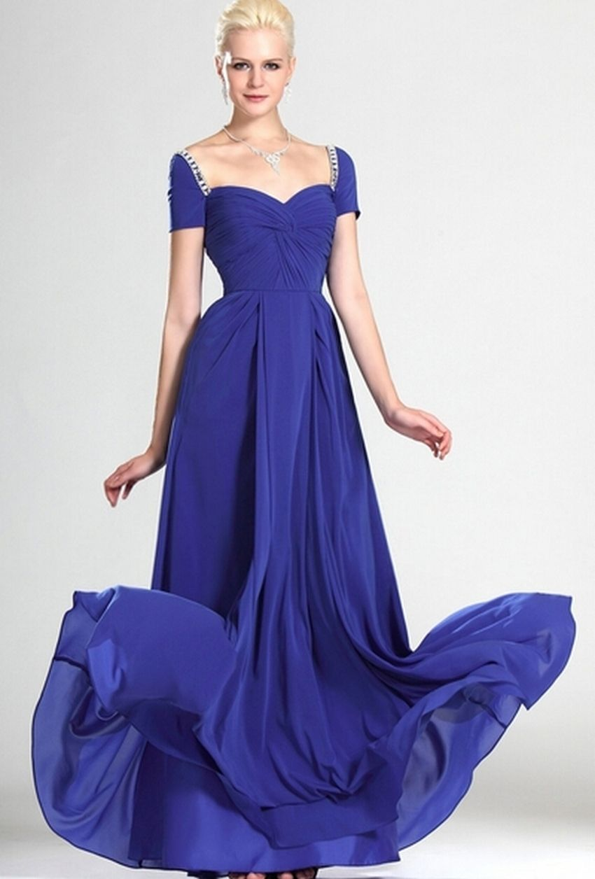 Click to buy ucuc royal blue chiffon dress for mother of the bride