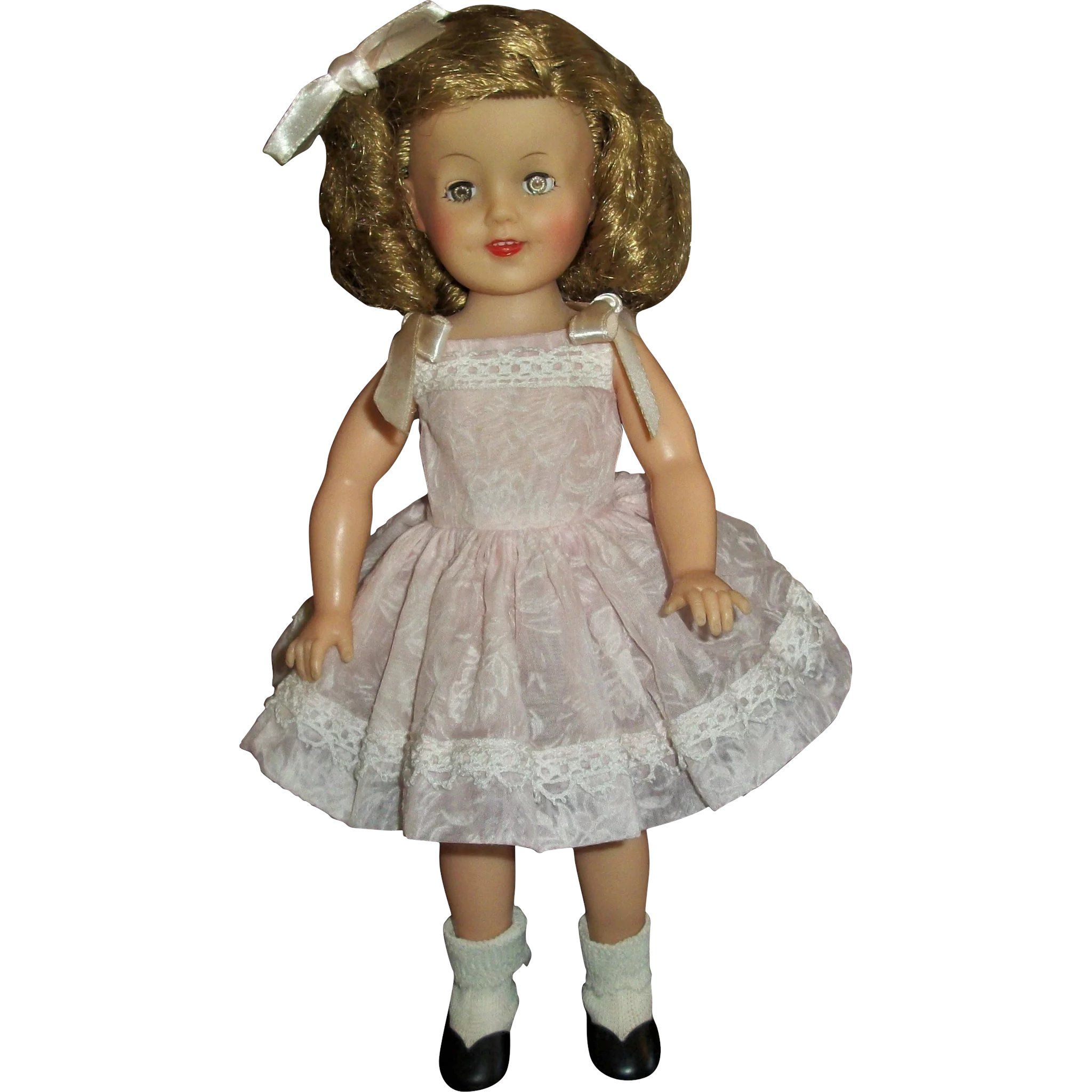 Vintage Ideal Vinyl 12 Shirley Temple Wearing Original Flocked Sundress Shirley Temple Doll Clothes Sundress