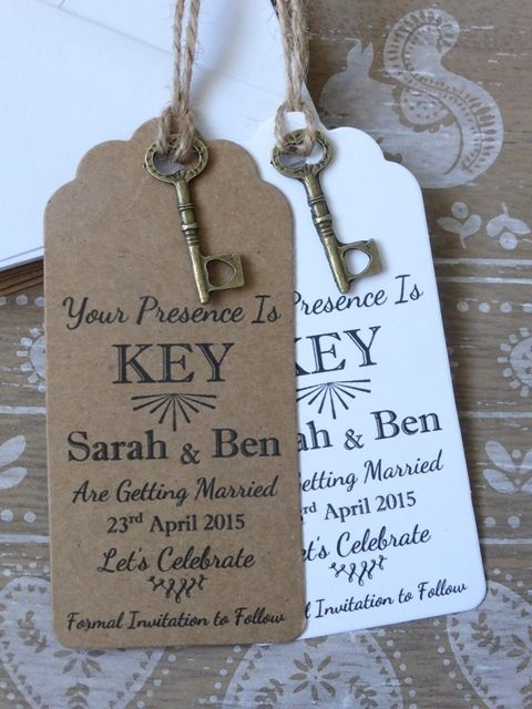 Rustic Key Save The Date Card Tag Wedding Invitation Diy Save The Dates Wedding Invitations Rustic Homemade Wedding Invitations