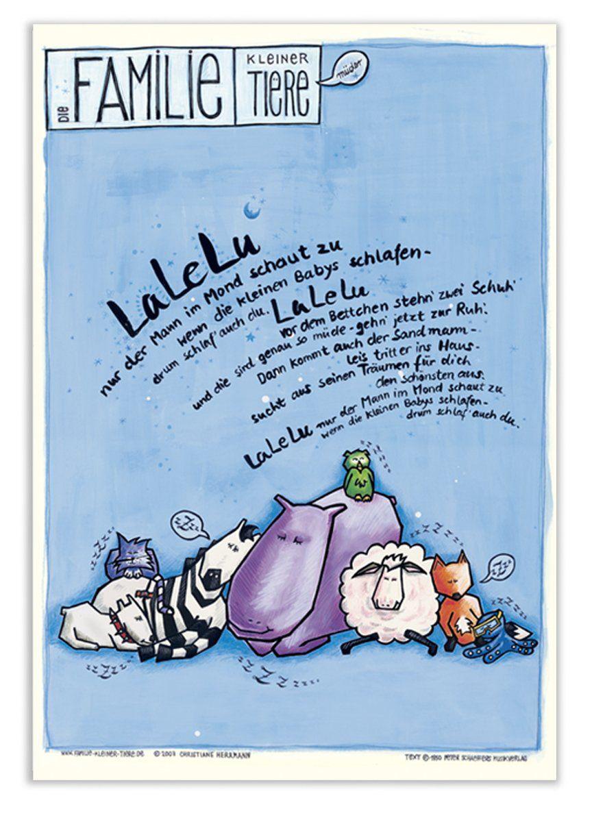 kinderposter mit schlaflied lalelu blau f r baby kinder kindergarten kinderzimmer tierposter. Black Bedroom Furniture Sets. Home Design Ideas