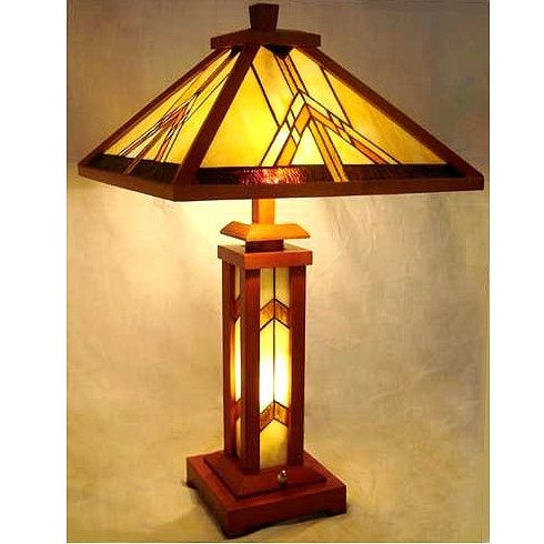 Mission Tiffany Stained Glass Table Lamp W/Wood Base