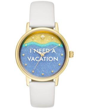 kate spade new york Women's Metro White Leather Strap Watch 34mm KSW1101 - Gold