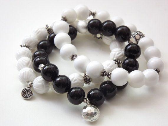 Love this black and white bracelet set.