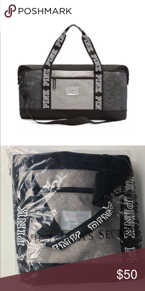 VS PINK Duffle Gym Bag Black Grey Marl VICTORIA S SECRET PINK SPORT DUFFLE  GYM BAG - b6be5e992798b