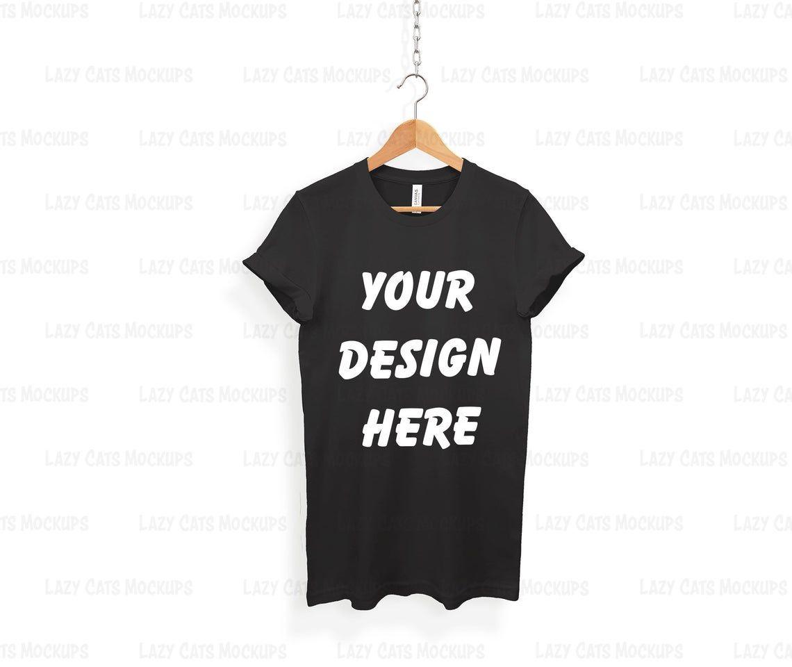 Download Black Bella Canvas 3001 Mock Up On Hanger Shirt Mock Up White Etsy T Shirt Design Template Shirt Mockup T Shirt Image