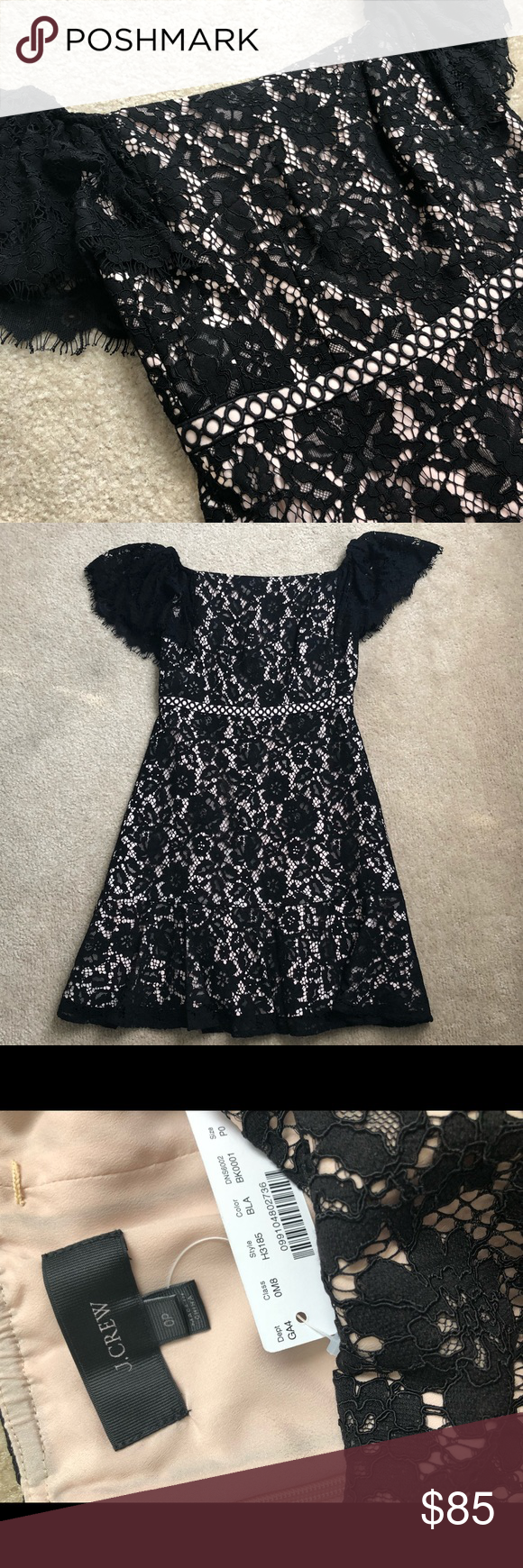 J crew black lace dress  JCREW Off The Shoulder Lace Dress  New with Tags NWT