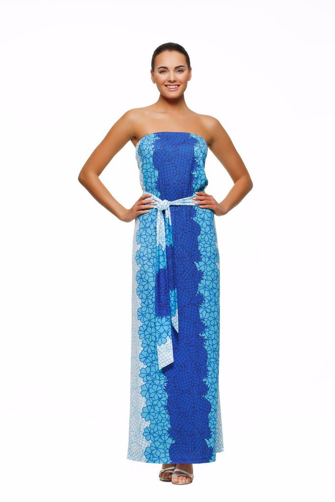 Remy womens strapless maxi dress with matching belt in our blue pineapple  print. 1729d9e26