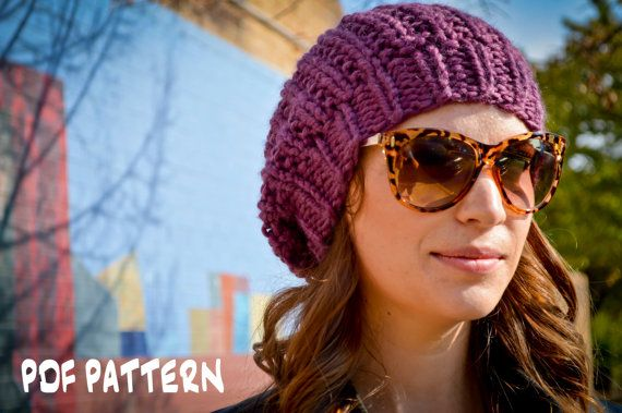 Knit Hat Pattern, Knitting Pattern Slouchy Beret, Knitted Slouchy ...
