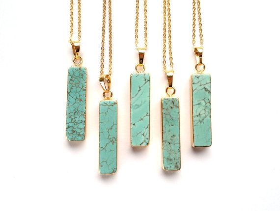 Turquoise Vertical Bar Necklace Turquoise Jewelry