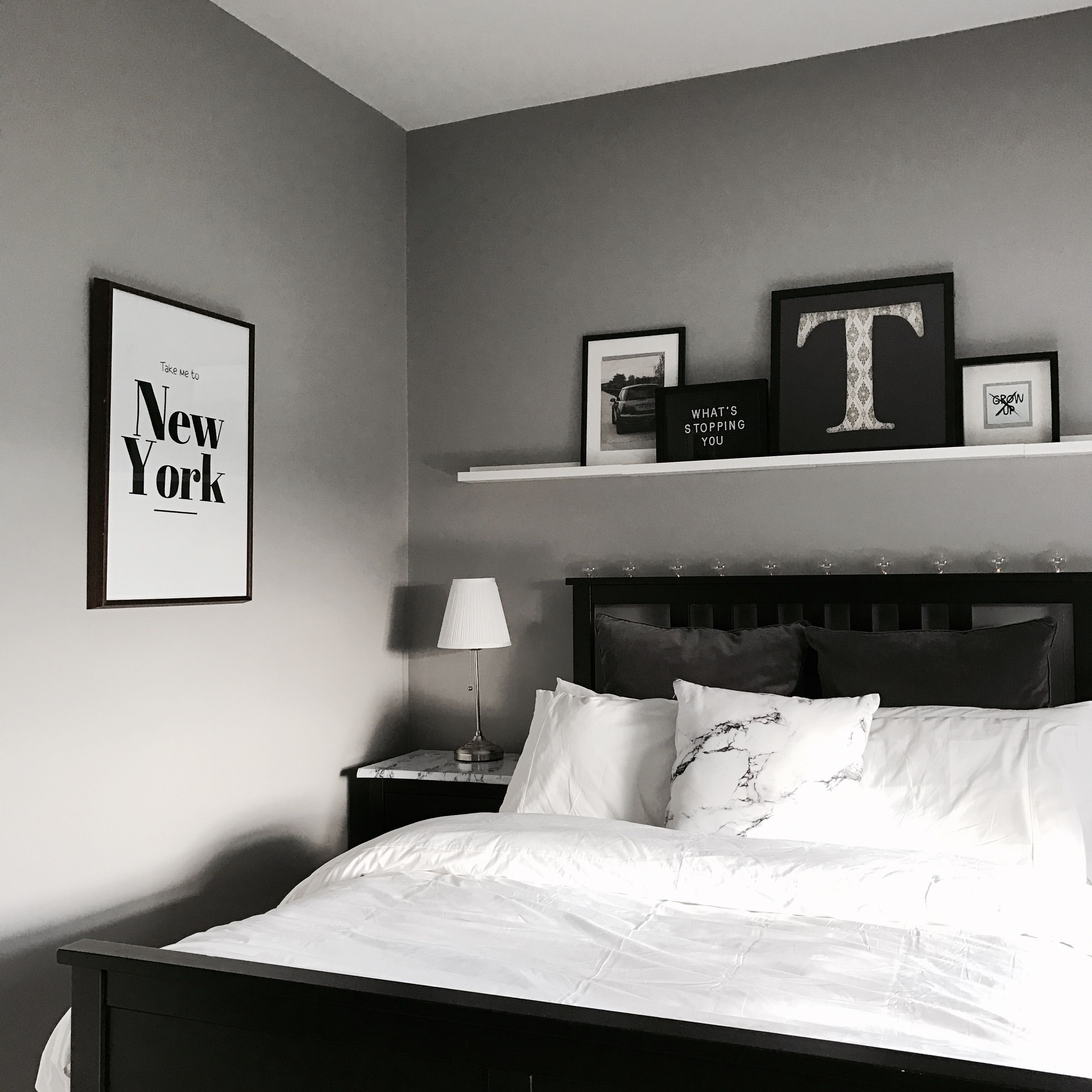 White, Grey And Black IKEA Bedroom Using Hemnes