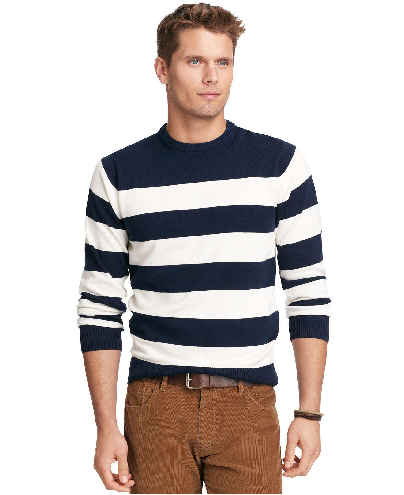 Izod Sweater, Crew Neck Stripe Fine Gauge Lightweight Sweater - Sweaters - Men - Macy's
