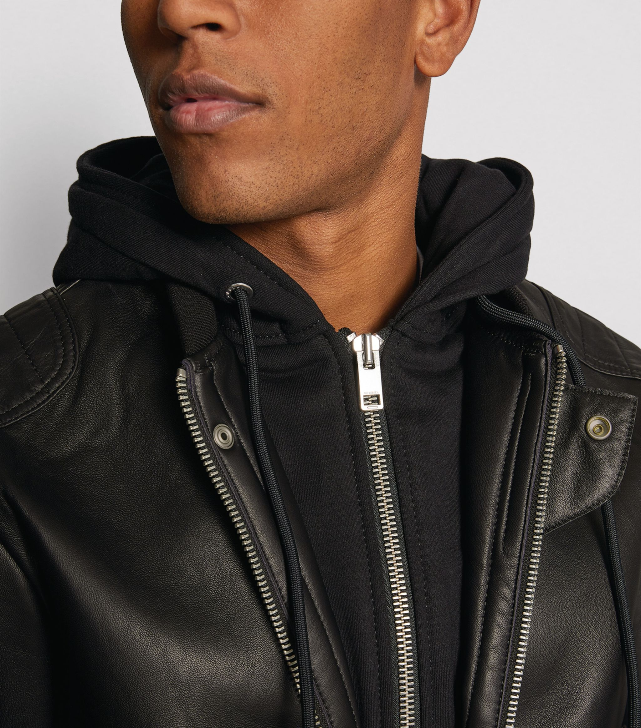 Diesel Black Hooded Leather Jacket Ad Sponsored Black Diesel Hooded Jacket Leather Leather Jacket With Hood Dresses Casual Fall Jackets [ 2328 x 2048 Pixel ]