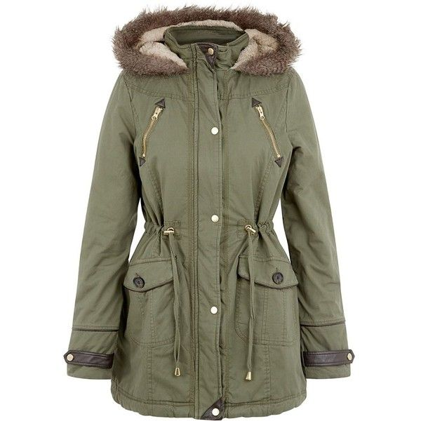 Brave Soul Khaki Hooded Parka (88 BRL) ❤ liked on Polyvore featuring outerwear, coats, jackets, coats & jackets, khaki, hooded coat, hooded parka coat, green parka coat, khaki green parka and khaki coat