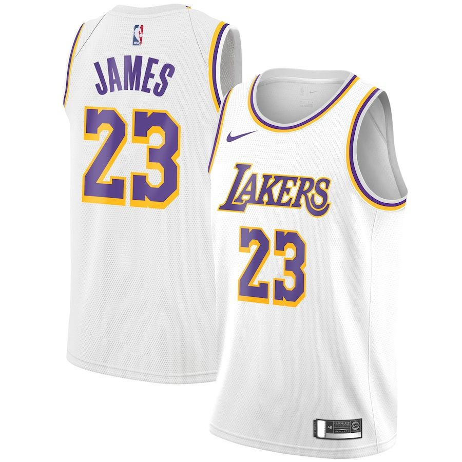 Lebron James Los Angeles Lakers #23 White Youth Dri-Fit Player Name /& Number T-Shirt