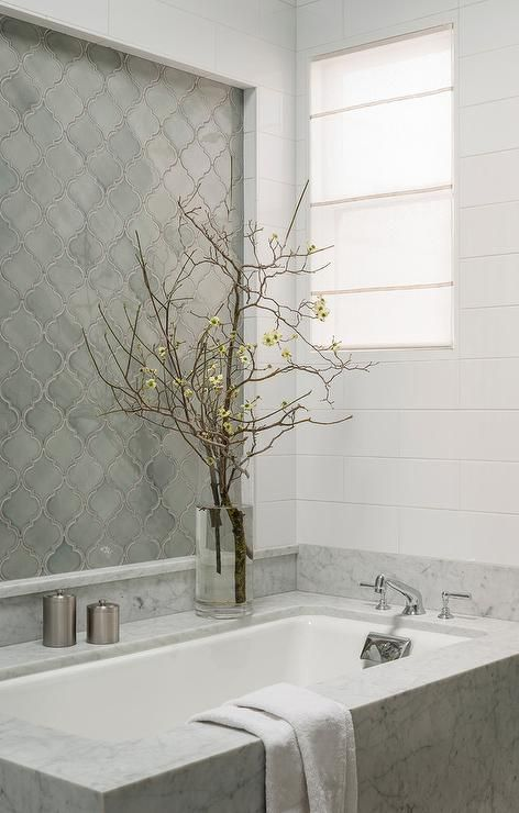 Gray Arabesque Bathroom Tiles Transitional Bathroom