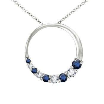 Round sapphire and diamond circle journey pendant jewelry round sapphire and diamond circle journey pendant aloadofball Gallery