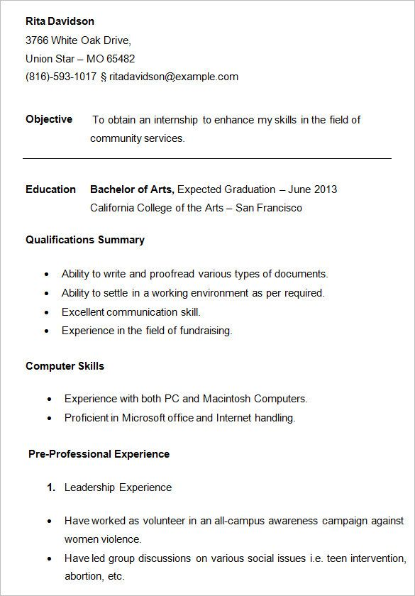 For College Students College resume, Sample resume and Template - volunteer resume