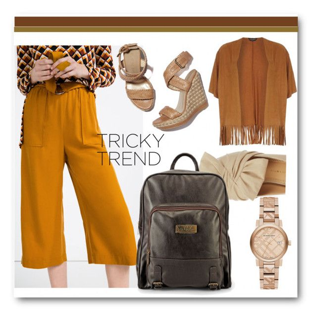 """""""Cute Culottes"""" by radnikbags ❤ liked on Polyvore featuring Zara, Stuart Weitzman, Dorothy Perkins, Charlotte Olympia, Burberry, TrickyTrend and culottes"""