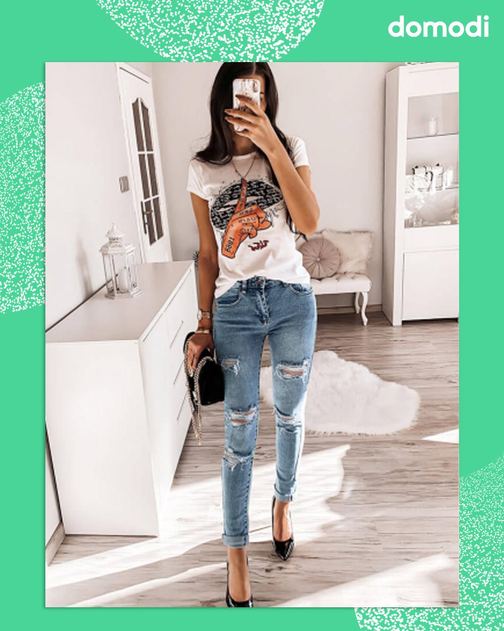 Spodnie Jeansowe Z Przetarciami Taylor Fashion Denim Ripped Jean