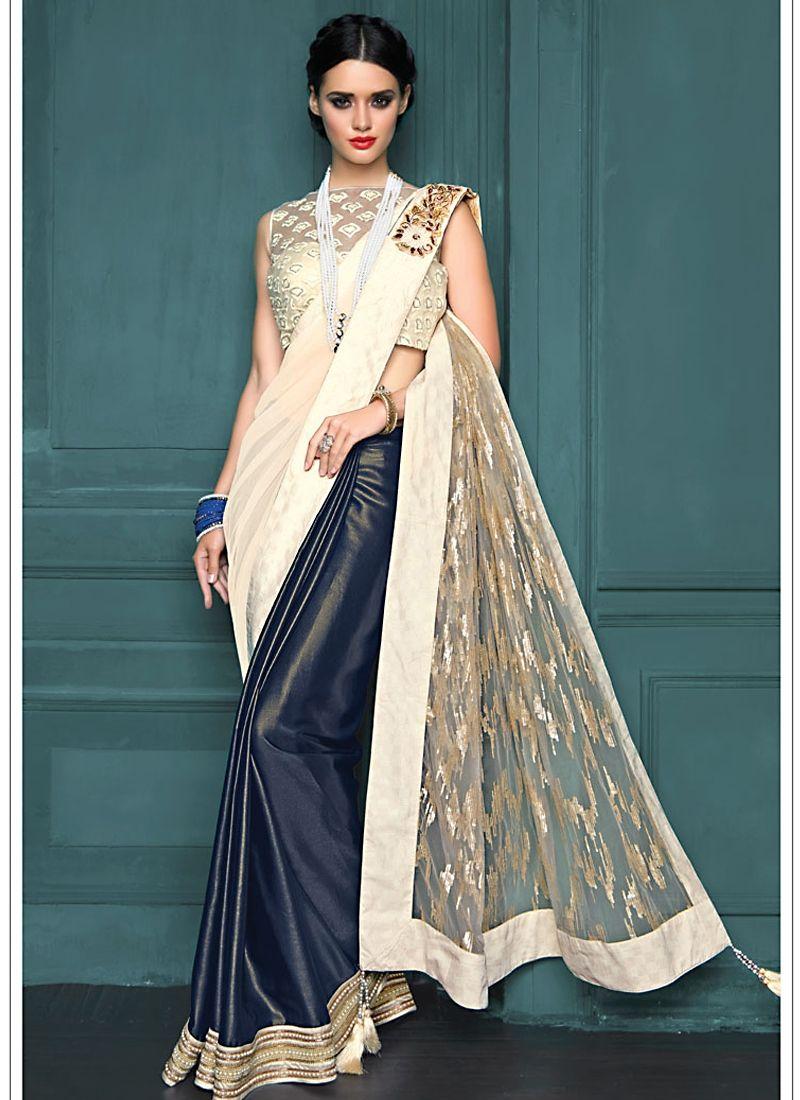 Modern saree models bedazzling off white net designer saree  saree  pinterest  saree