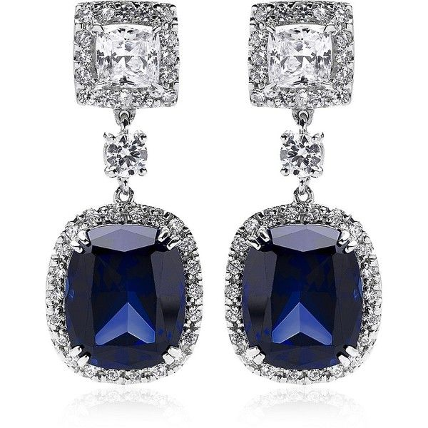 Carat Sapphire Borderset Drop Earrings ($460) ❤ liked on Polyvore featuring jewelry, earrings, accessories, brincos, sapphire jewellery, holiday jewelry, special occasion jewelry, drop earrings e holiday earrings