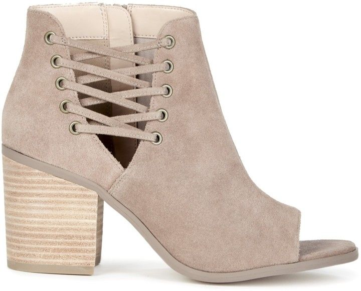 941e4233f Beechwood Transitional Sandal cut out peep toe lace up chunky heel boots  booties heels casual cute taupe beige fall spring summer style outfits  comfortable ...