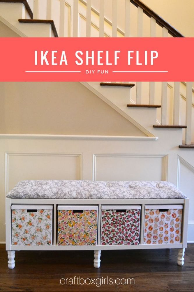 How To Transform A Plain Ikea Bookshelf Into A Pretty Bench For Your Entryway Ikea Shelves Ikea Bookshelves Home Diy