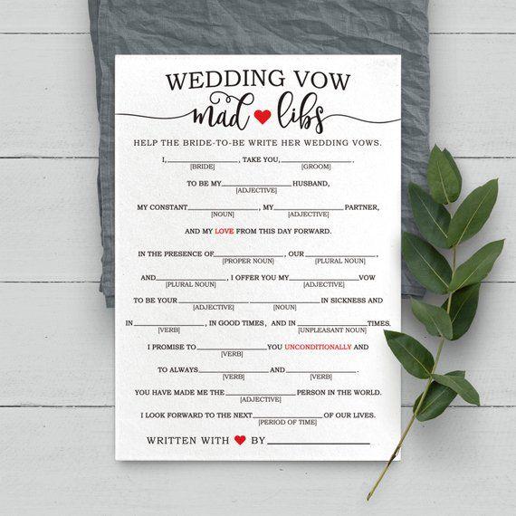 Wedding Vow Mad Libs Printable: Wedding Mad Libs . Wedding Vow Mad Libs . Wedding Libs