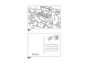 Beach themed holiday postcard for your children to colour in! Find ...