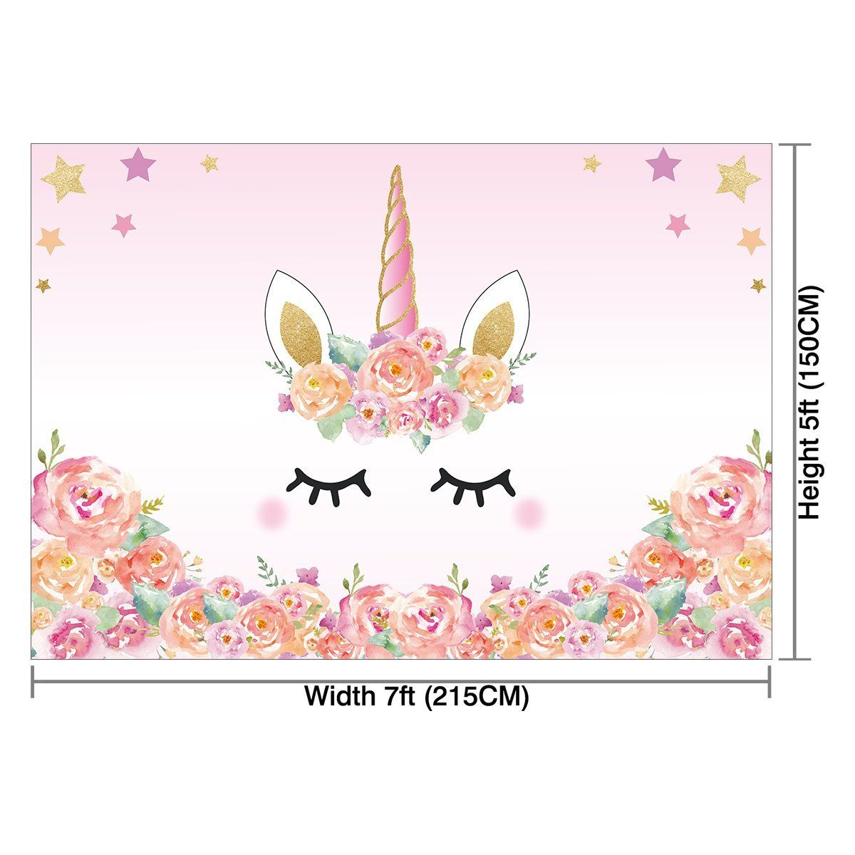 Hellodecor Polyster 7x5ft Unicorn Themed Birthday Party Banner Photo Backdrop Background W Unicorn Birthday Backdrops For Parties Unicorn Themed Birthday Party