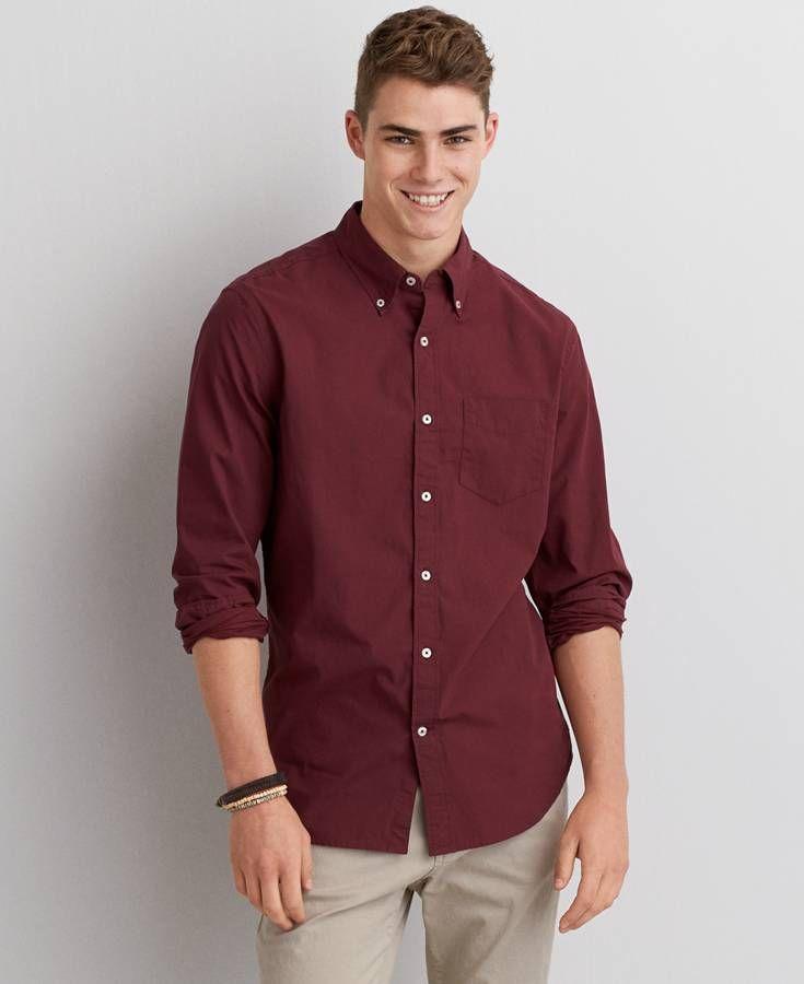 83e79e9ec30 AE Long Sleeve Button Down Shirt | *Clothing* | Maroon dress shirt ...