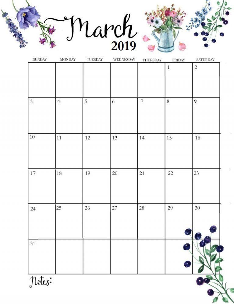 Print March 2019 Calendar Cute March 2019 Floral Calendar #march #marchcalendar2019