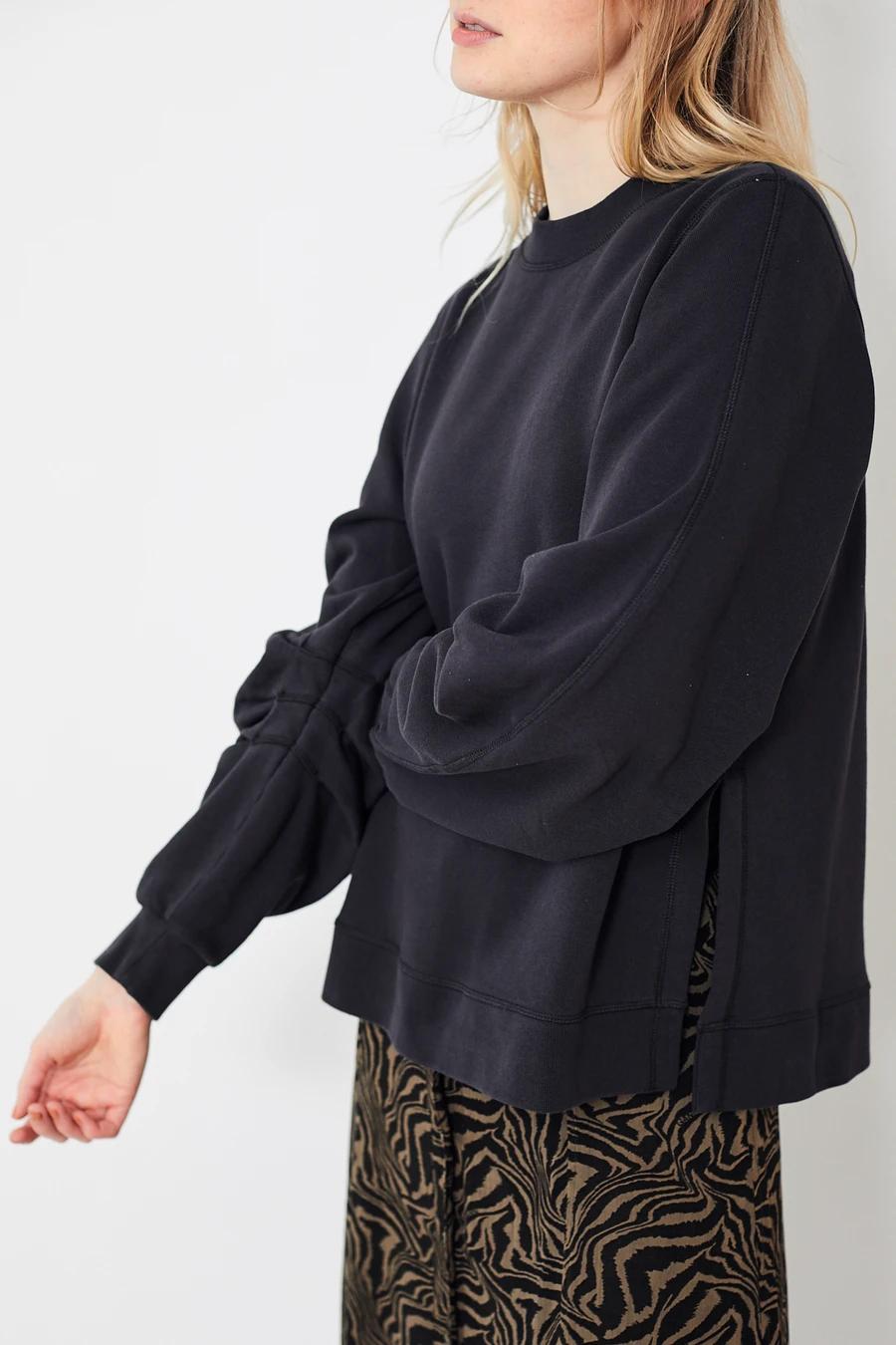 Ganni Isoli Sweatshirt W Pleated Sleeves Phantom Soft Pullover Sweatshirt In 100 Certified Organic Cotton Featur Pleated Sleeves Soft Pullover Sweatshirts [ 1350 x 900 Pixel ]