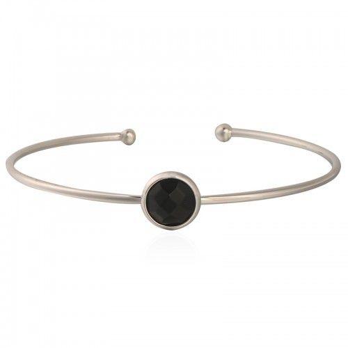 Armband Gemstone Cuff - Silver & Black