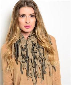 earth tones fringe scarf