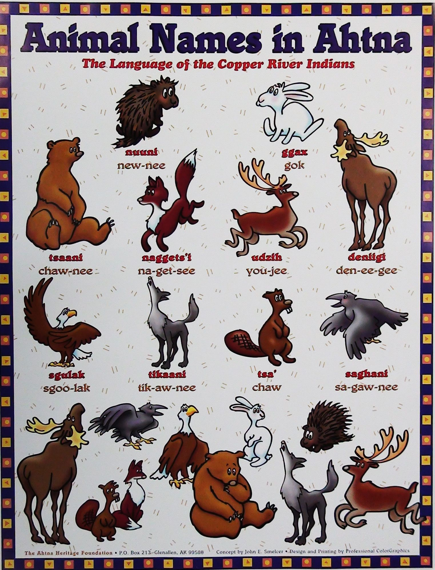 Animal Names in Ahtna Athabascan Animals, Poster