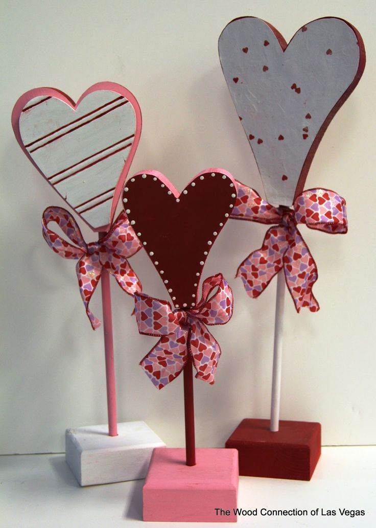 The Wood Connection Of Las Vegas Wood Hearts On Dowels Valentine Wood Crafts Valentine Decorations Valentines Diy