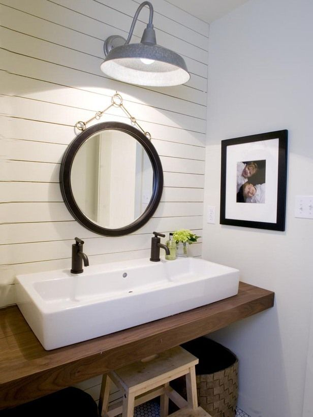White Trough Sink with Beautiful Mirror and Lighting for Farmhouse Bathroom
