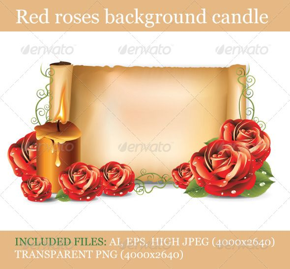 "Red Roses Background Candle   #GraphicRiver        Includes:  	 FOLDER: ""Red roses background candle – JPG"" Contains: 4000×2640 JPG image.  	 FOLDER: ""Red roses background candle – PNG"" Contains: 4000×2640 png image  	 FOLDER: ""Red roses background candle – EPS"" Contains: fully editable Vector Object EPS. Minimum Adobe Illustrator CS Version – CS10.  	 FOLDER: ""Red roses background candle – AI"" Contains: fully editable AI file. Minimum Adobe Illustrator CS Version – CS10. The image is made…"