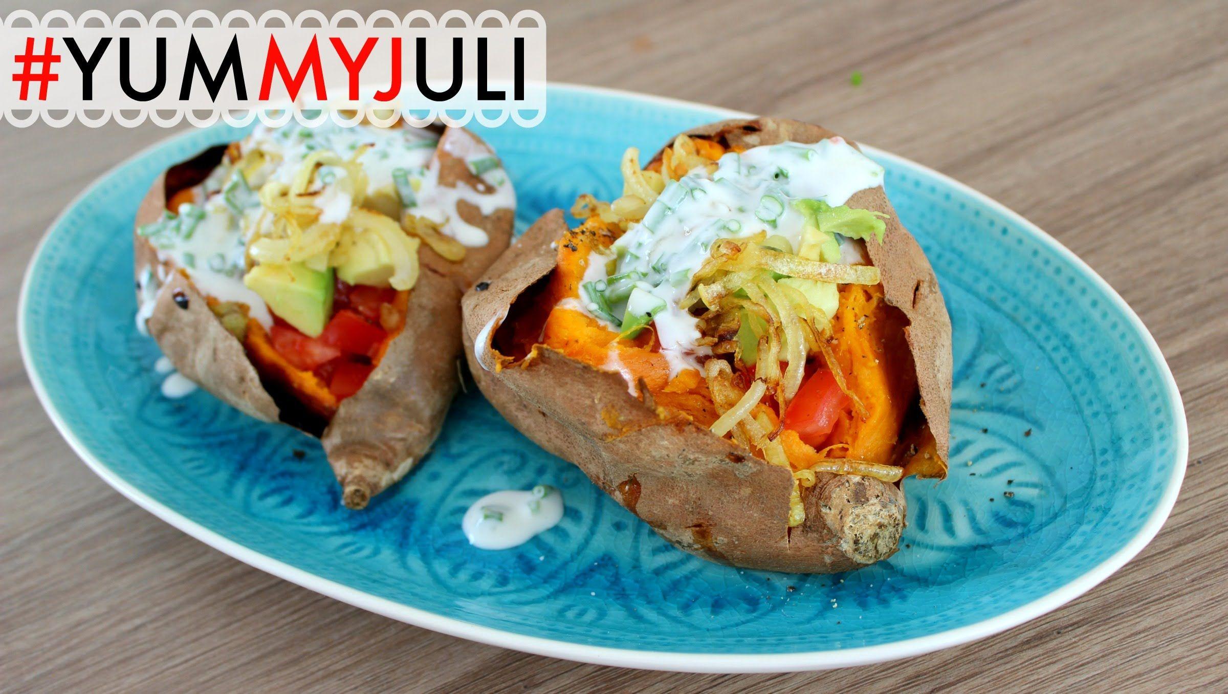 Leichte Sommer Küche Rezepte : Gefüllte süßkartoffeln leichte sommerküche yummyjuli
