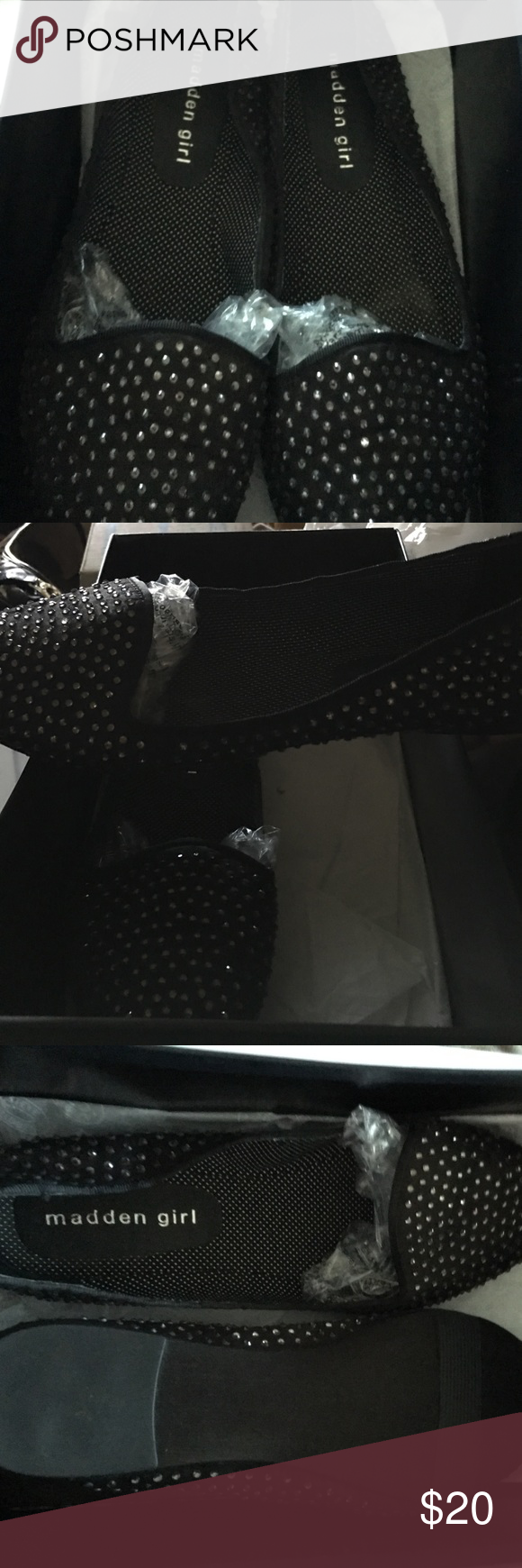 Madden Girl Black Rhinestone Black silk rhinestone flats like new Madden Girl Shoes Flats & Loafers