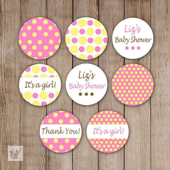 Printable small candy labels 0 75 inch candy stickers baby shower favors pink yellow polka dot