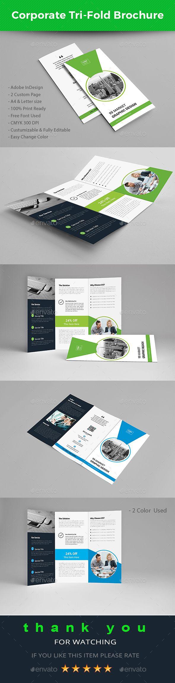 Corporate Trifold Brochure Tri Fold Brochure Brochures And - Trifold brochure template indesign